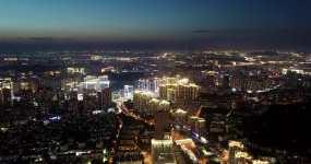 青岛夜景航拍市北区新都心夜景4k视频素材