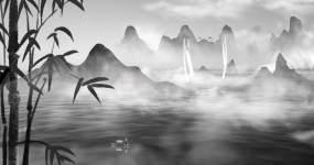 中国风水墨山水背景【4k】03视频素材