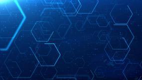 4K蓝色科技空间多边形元素通用背景视频素材