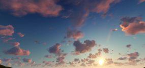 唯美的夕阳天空合成背景镜头视频素材