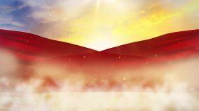 4K红绸天空飘动背景循环视频素材