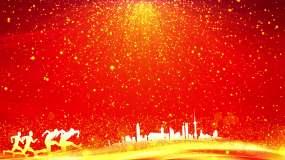 4K红色背景金色粒子视频6-无缝循环视频素材