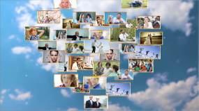 天空照片爱心汇聚AE模板