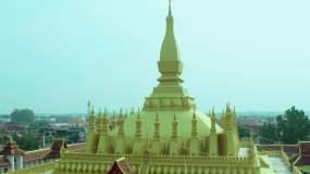 4K航拍老挝万象、佛教圣地、凯旋门视频素材