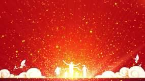 4K红色背景金色粒子视频3-无缝循环视频素材