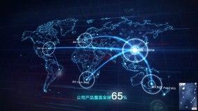 中国辐射全世界科技地图AE模板