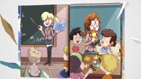 C4D翻书片头儿童英语美式C4D工程