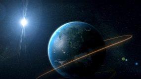 地球环绕光线灯光闪烁出LOGO视频素材
