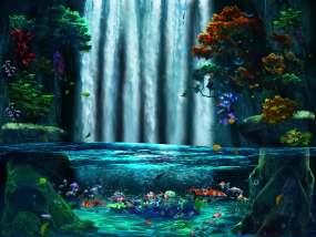 瀑布水池鱼塘视频素材