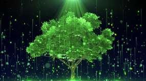 4K绿色荧光树背景循环视频素材