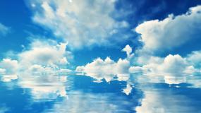 4K唯美蓝天白云湖面倒影视频素材