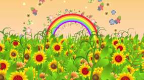 4K卡通花朵花海彩虹背景循环视频素材