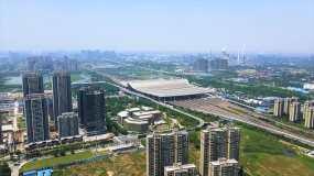 武汉站高铁进站航拍视频素材