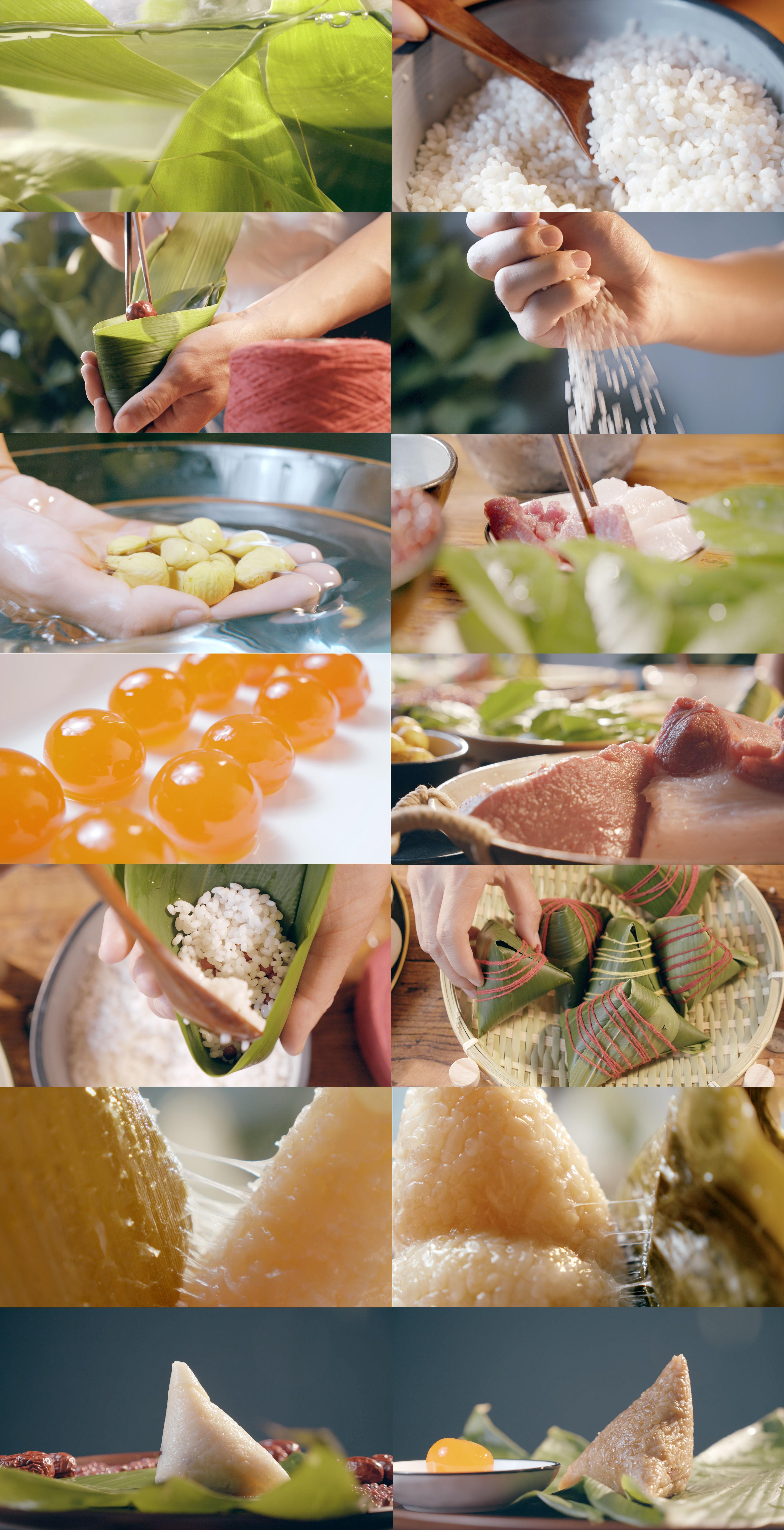 4k端午包粽子大米蛋黄箬叶拍摄