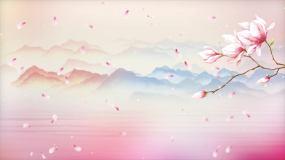 4K花瓣水墨唯美背景循环视频素材
