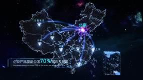 钻石粒子中国地图、世界地图辐射AE模版AE模板