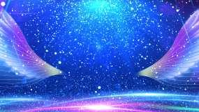 4K蓝色粒子舞台天使翅膀视频-无缝循环视频素材