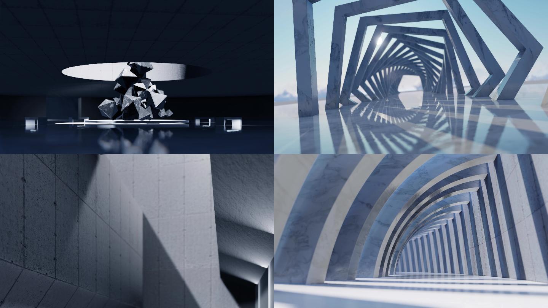 【原创】4K建筑空间光影变化空境