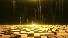 4K金色矩阵金融空间财经元素通用背景视频素材