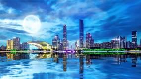 唯美城市月亮倒影广州视频素材
