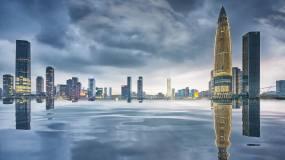 唯美城市倒影深圳公园视频素材