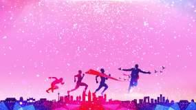 4K粉色粒子红色奔跑喜庆视频-无缝循环视频素材