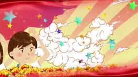 红领巾飘起来-儿童歌曲配乐视频素材