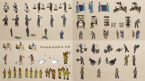 中国古代人物视频素材V2AE模板