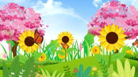 绿色春暖花开桃花樱花蝴蝶飞舞背景视频视频素材