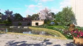 小区庭院景观视频素材