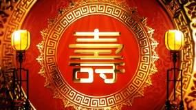 4K红色喜庆大气祝寿贺寿寿诞背景视频视频素材