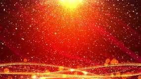 4K红色背景金色粒子视频43-无缝循环视频素材