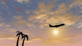 飞机夕阳下起飞视频素材
