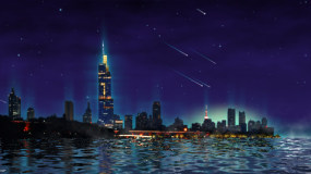 海边城市月夜视频素材