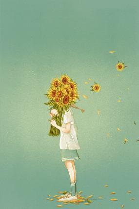 唯美女孩向日葵LED大屏背景视频素材