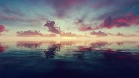 4K海上一轮太阳升起视频素材