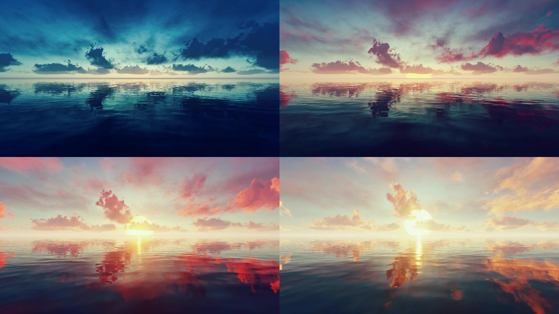 4K海上一轮太阳升起