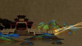 复古中国画山水画片头演绎AE模板