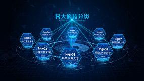 蓝色科技文字图标分支分类展示AE模板