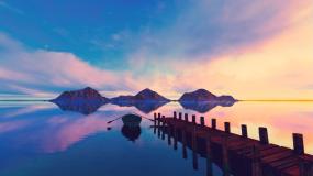 湖光山色视频素材