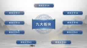 古风国潮青花中国风组织架构水墨商务宣传AE模板