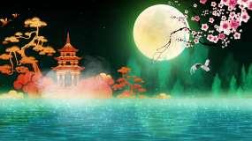 4k梦幻唯美的月亮背景视频视频素材