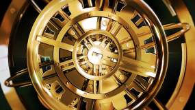 3组金色时钟表机械齿轮3D场景动画VJ视频素材包