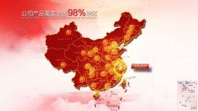 红色地图浙江辐射全国AE模版AE模板
