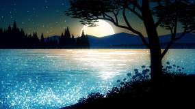 4k梦幻唯美的月亮升起背景视频视频素材