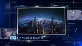 蓝色科技感标题企业图文展示AE模板