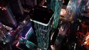航拍郑州夜景花园路商圈正弘城视频素材