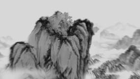 古风水墨山水卷轴画卷AE模板AE模板