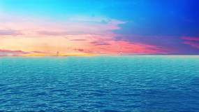 沙滩,蔚蓝大海,深海群鱼游,晚霞视频素材