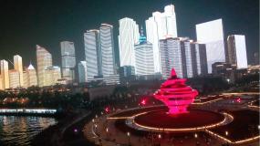 4K航拍青岛夜景-五四广场视频素材